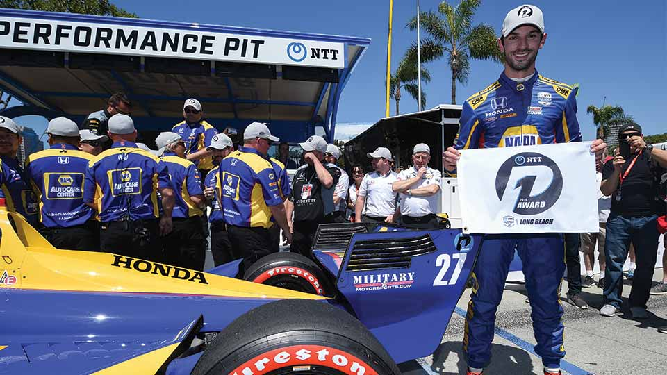Alexander Rossi on the pole in long beach