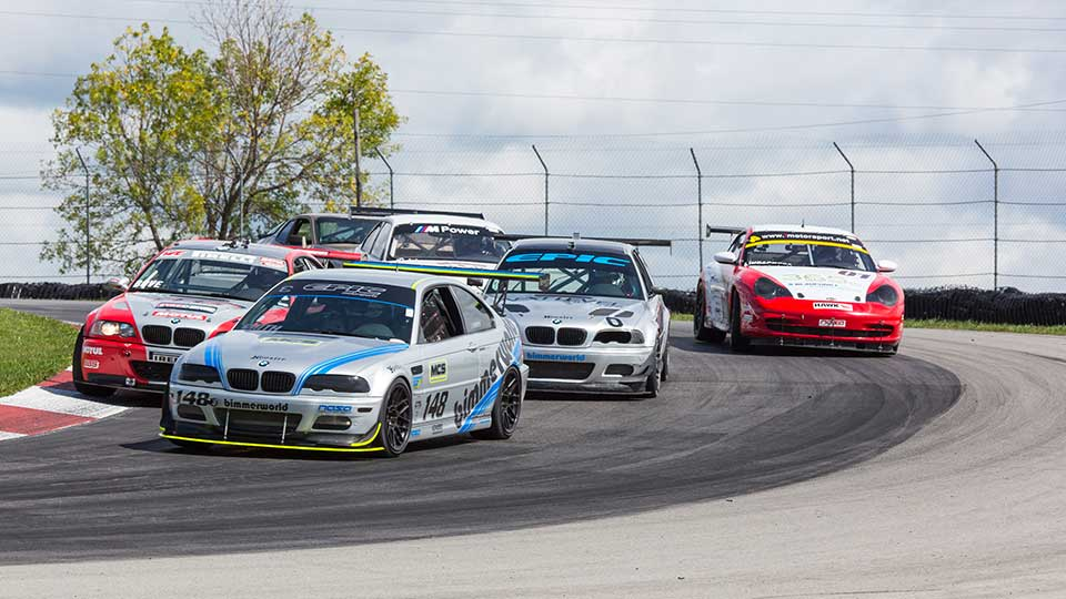 Sportcars on track at the Mid-Ohio Sports Car Course