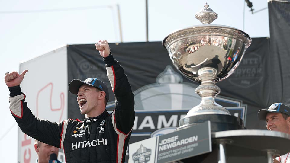 Josef Newgarden with the Astor Cup