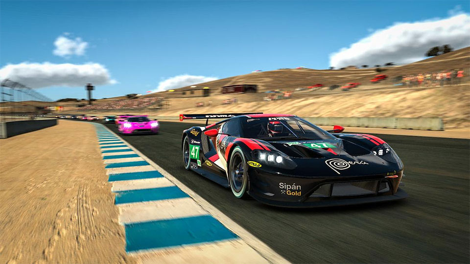 IMSA cars on track on the iRacing platform